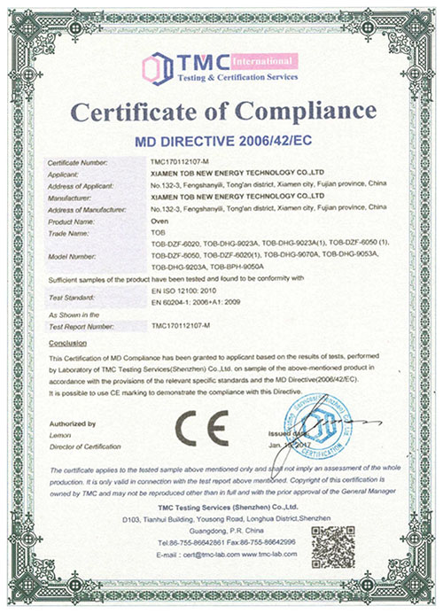 Oven CE certificate